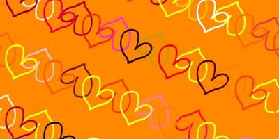 Light Pink, Yellow vector texture with lovely hearts.