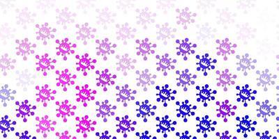 Light pink, blue vector backdrop with virus symbols.