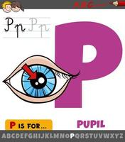 letra p del alfabeto con pupila del ojo vector