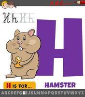 Letra h del alfabeto con dibujos animados de animales hámster vector