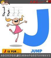 hoja de trabajo de la letra j con palabra de salto vector