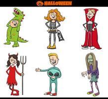 niños disfrazados de halloween establecen ilustración de dibujos animados vector