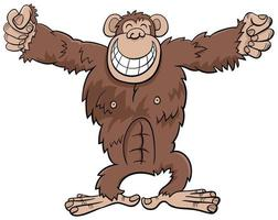 gorila, mono, animal salvaje, caricatura, ilustración vector