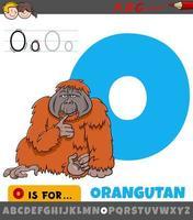 hoja de trabajo de la letra o con animal orangután de dibujos animados vector