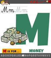 Letra m del alfabeto con dinero de dibujos animados vector
