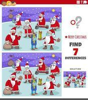 juego educativo de diferencias para niños con personajes navideños vector