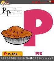 hoja de trabajo de la letra p con pastel de dibujos animados vector