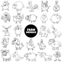 black and white cartoon farm animal characters big set vector