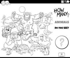 Contando animales tarea educativa libro para colorear página vector