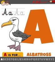hoja de trabajo de letra a con pájaro albatros de dibujos animados vector