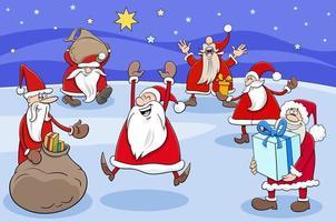Santa Claus cartoon characters group on Christmas time vector