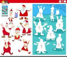 juego de combinación de formas con personajes de dibujos animados de santa claus vector