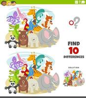 differences educational game with wild animal characters vector