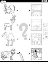 Emparejar animales y sus entornos página de libro para colorear vector