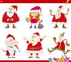 Santa Claus characters on Christmas time cartoon set