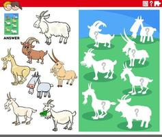 matching shapes game with cartoon goat characters vector