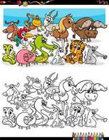 Grupo de animales divertidos dibujos animados página de libro para colorear vector