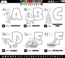 educational cartoon alphabet letters set from A to F coloring book vector