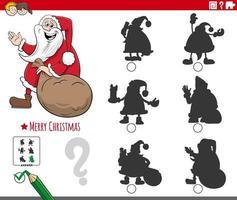 juego de sombras con personaje de dibujos animados de santa claus vector