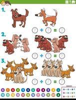 Tarea educativa de adición de matemáticas con personajes de perros.