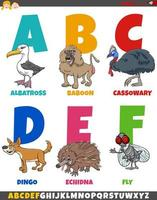educational cartoon alphabet collection with funny animals vector