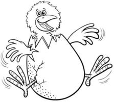 cartoon little chick hatching from egg coloring book page vector