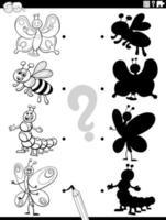 Tarea de sombra con insectos de dibujos animados página de libro para colorear vector