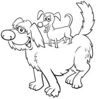 cartoon playful dogs funny animal characters coloring book page vector