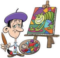 caricatura, pintor, artista, cómico, carácter vector