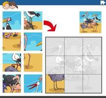 juego de rompecabezas con personajes de animales cómicos pájaros vector