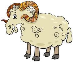 Divertido personaje de dibujos animados de animales de granja ram vector