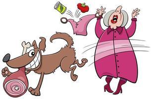 perro travieso de dibujos animados robando jamón a una anciana vector
