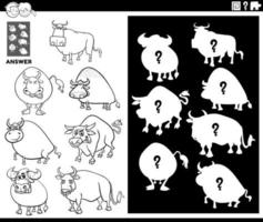 matching shapes game with bulls coloring book page vector
