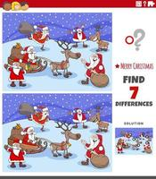 Diferencias tarea educativa para niños con personajes navideños. vector