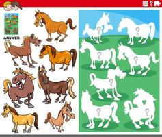 matching shapes game with cartoon horse characters vector