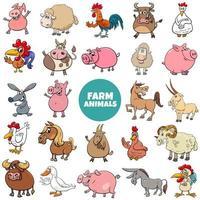 cartoon farm animal characters big set vector