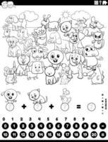 Contando y sumando tareas con animales página de libro para colorear vector
