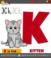 hoja de trabajo de la letra k con gatito de dibujos animados vector