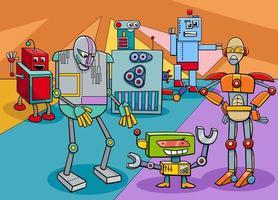 divertido, robot, caracteres, grupo, caricatura, ilustración