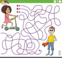 educational maze game with cartoon girl and boy vector