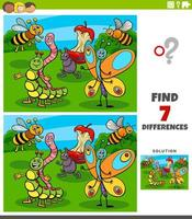 differences educational game with insect characters vector