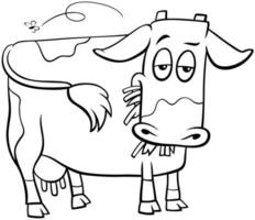 cow farm animal character cartoon coloring book page vector