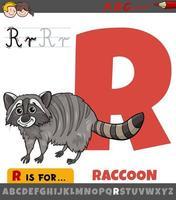 hoja de trabajo de la letra r con mapache de dibujos animados vector