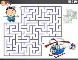Laberinto juego educativo con niño y helicóptero de juguete. vector