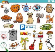 letra p palabras tarea educativa para niños vector