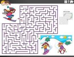 juego educativo de laberinto con personajes de chicas de esquí. vector
