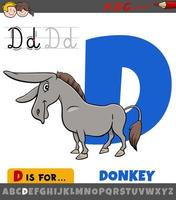 hoja de trabajo de la letra d con animal de granja de burro de dibujos animados vector