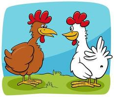 cartoon two hens farm birds characters talking vector
