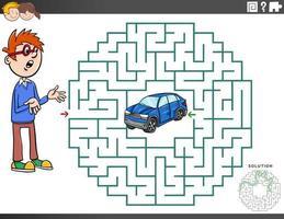 juego educativo de laberinto con niño y coche de juguete. vector
