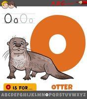 Letra o del alfabeto con carácter animal nutria vector
